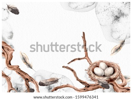 Bird nest, wood snags, feathers. Watercolor ink splotches illustration card. Your text empty space.
