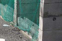 bird net in garbage dump