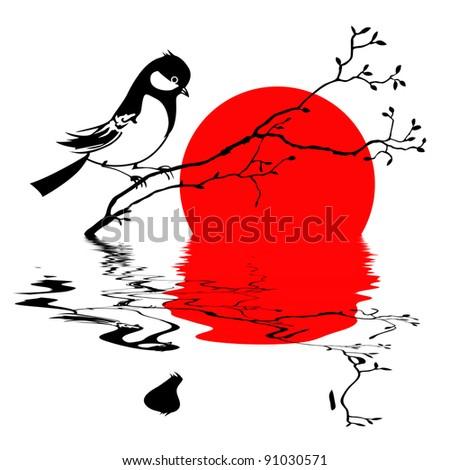 bird on branch silhouette on solar background - stock photo