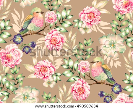 bird pattern. seamless heavenly floral design with an exotic bird. Detailed antique style illustration. camellia tree with lilac-breasted roller bird. Beautiful flowers.