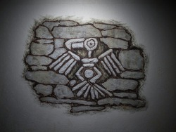 Bird petroglyph architecture wall art design decoration antique Inca culture archaeology in Tarapoto Amazon jungle rainforest Peru South America