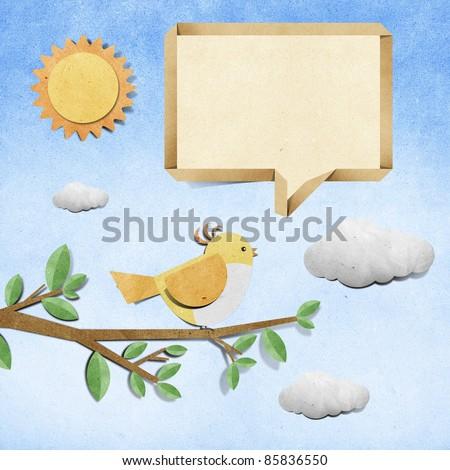 bird recycled papercraft background