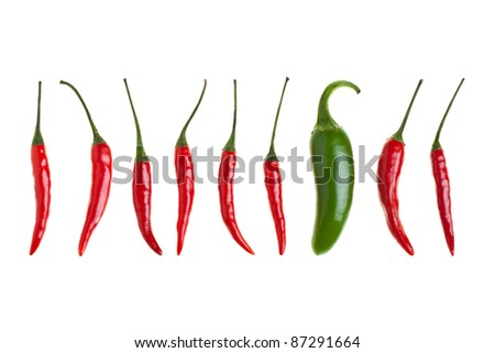 Bird's eye chilies and one jalapeno chili in a row isolated on white background