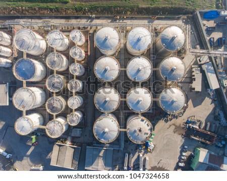 Bird's eye drone photo of an industrial area