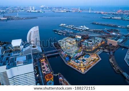 Bird's eye view from Yokohama landmark showing the Yokohama Bay and Cosmo world, at the near end, the famous amusement park in Yokohama city/ Yokohama Bay/Yokohama Bay stock photo