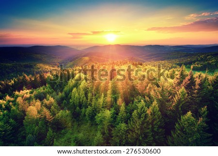 Bird's-eye view of a scenic sunset over the   forest hills, with toned dramatic colors