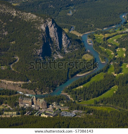 """Bird's eye view of Banff with Bow river, and the world renowed """"Banff Springs Hotel"""""""