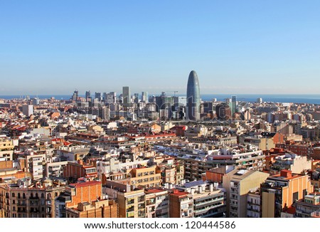 Bird's eye view of Barcelona Spain in the morning