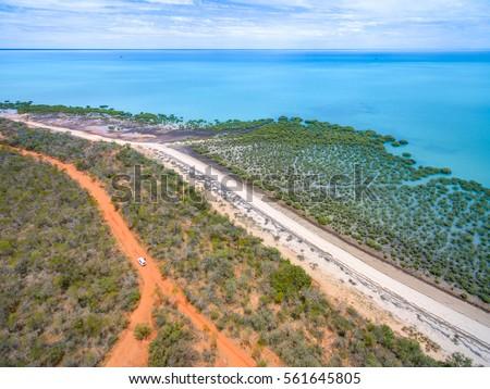 Bird's Eye View of Broome beach, Kimberley, Western Australia