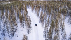 Bird's eye view of car moving on rural path passing coniferous forest trees in winter, aerial drone view of suv driving on road trip. Scenery North nature landscape