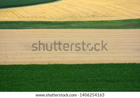 Bird's eye view of fertile fields and fields in rural landscape