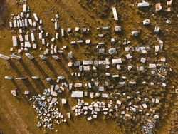 bird's eye view of historical artifacts on the grass