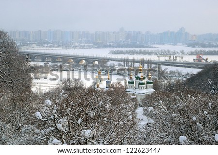 Bird's eye view of Kiev in snow, Vydubitskyi monastery, Ukraine