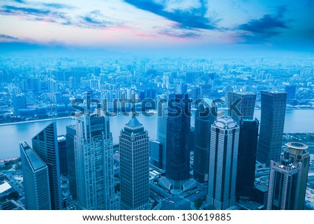 bird's eye view of modern city in shanghai at dusk,China #130619885