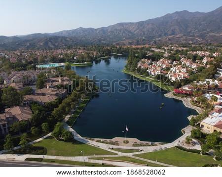 Bird's eye view of Rancho Santa Margarita lake in California. Сток-фото ©