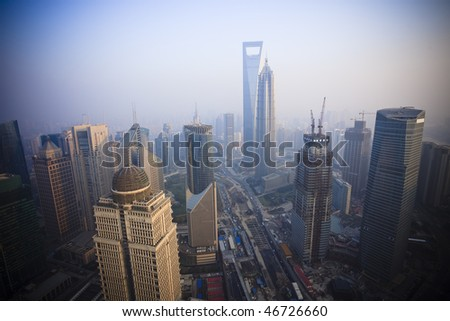 Bird's eye view of Shanghai Pudong .