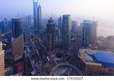 Bird's eye view of Shanghai Pudong .