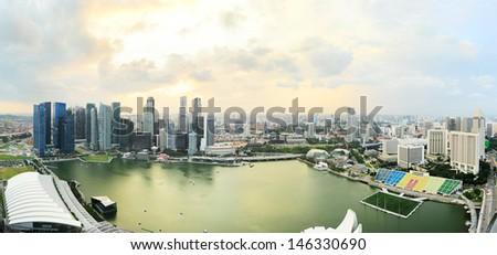 Bird's-eye view of Singapore at sunset