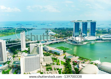 Bird's eye view of Singapore in the sunshine day
