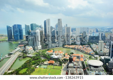 Bird's eye view of Singapore riverbank in the sunshine day