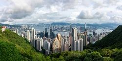Bird's eye view of the city of Hong Kong, China