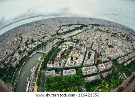 Bird's eye view of the city of Paris ,France ,  photographed fro