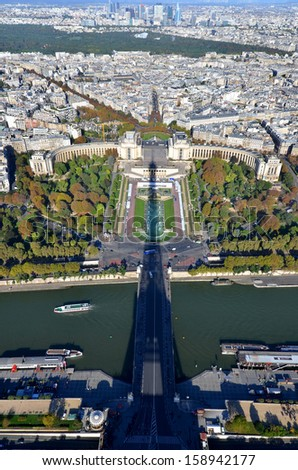 Bird\'s eye view of the Eiffel tower\'s shadow, the Trocadero place and the city of Paris ,France.