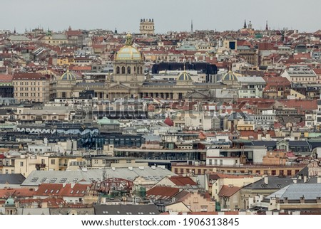 bird's eye view of the rooftops of Prague's New Town and the Nat Photo stock ©