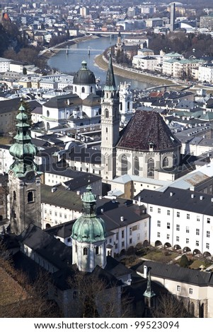 Bird's eye view of the Salzburg city, Austria