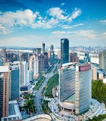 Bird's eye view of the scene of major cities.