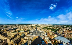Bird's-eye view of Vatican City, the Makkah of Catholics. I took the shot from the top of the St. Peter's Basilica's Dome.