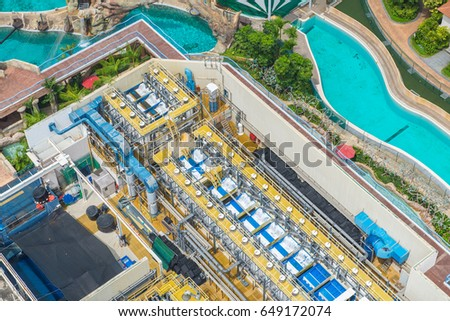 Bird's eye view of Water treatment plants on swimming pool. #649172074