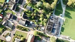 Bird's eye view on a rural town in the Achterhoek, the Netherlands