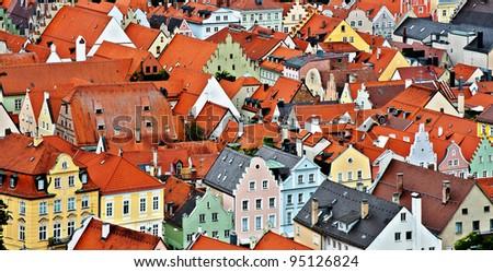 Bird's Eye View on the Bavarian Town of Landshut, Germany