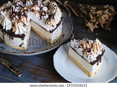 Bird's milk cake with Swiss meringue cream. ストックフォト ©
