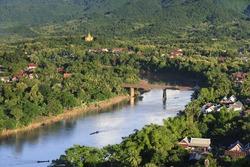 Bird's view of  Nam Khan river, Luang Prabang,Laos
