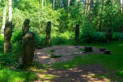 Bird sculptures in Dalby Forest, Yorkshire Moors