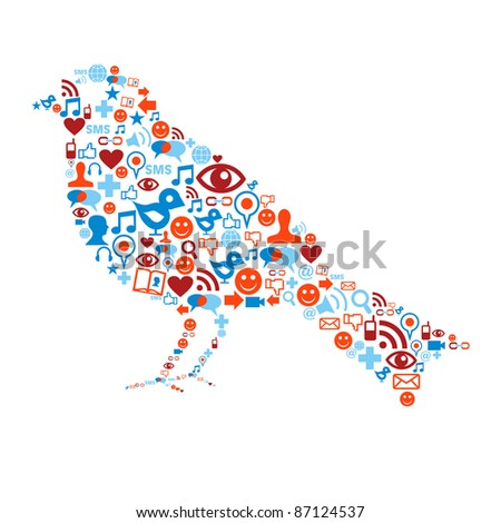 Bird shape with social media icons set texture