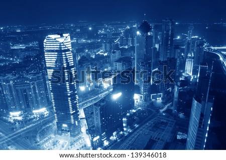 Bird view at Nanchang China. Skyscraper under construction in foreground. Bund (Nanchang) area #139346018