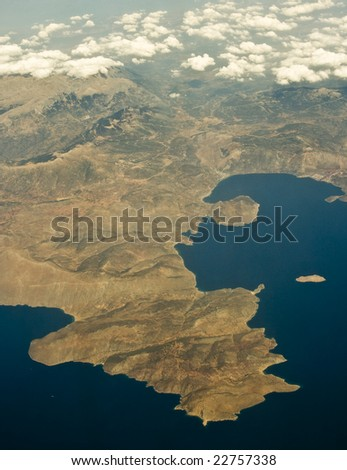 Bird view of greek gulf of Corinth