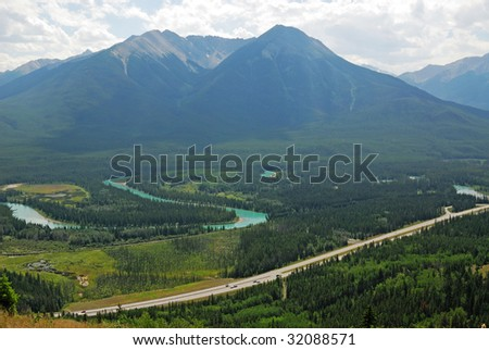 Bird view of the bow valley and highway from the cory pass, banff national park, alberta, canada