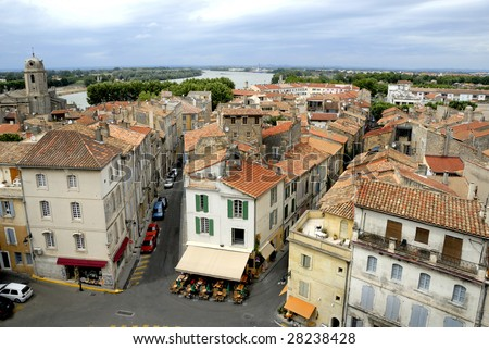 Bird view of the city of Arles in France. No number plates, no brand names and no people