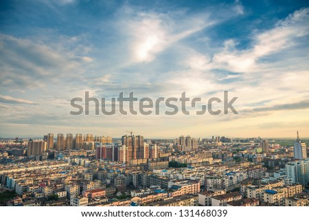 bird view over city of Fuzhou Jiangxi Province, China #131468039