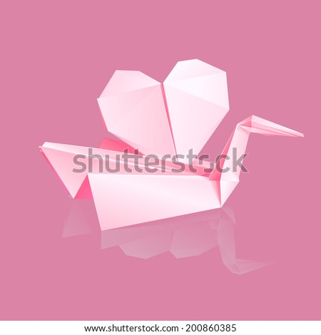 bird with heart on the water (origami style)