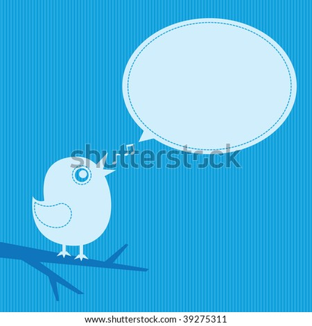 bird with speech cloud on blue background - stock photo