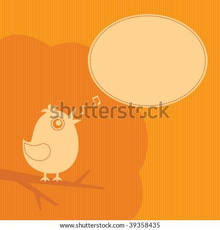 bird with speech cloud on orange  background - stock photo