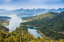 Birdeye view of Ratchaprapha dam Khao sok national park at suratthani,Thailand