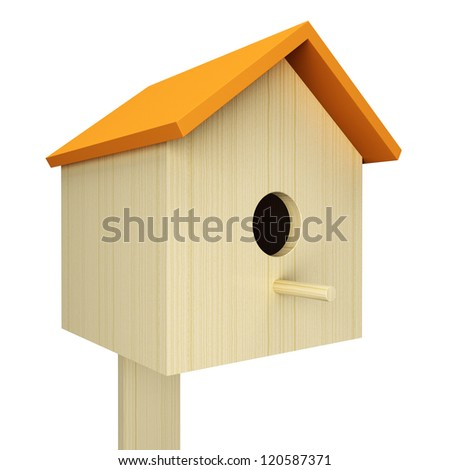 Birdhouse isolated on white background. 3d render illustration