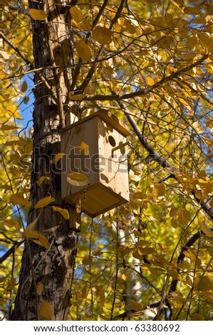 Birdhouse on a tree. Autumn yellow leaves and twigs.