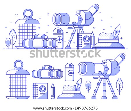 Birding icon set with birdwatcher equipment and elements. Travel scope, binoculars, birder hat and feathers. Ornithology and birdwatching icons and concept banner or background in line art.